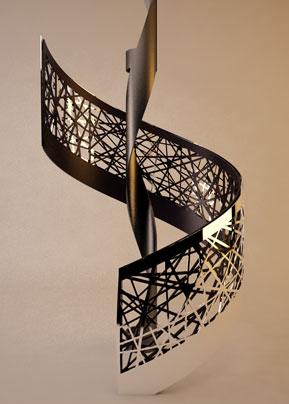 Concept scara elicoidala balustrada debitata laser voronoi