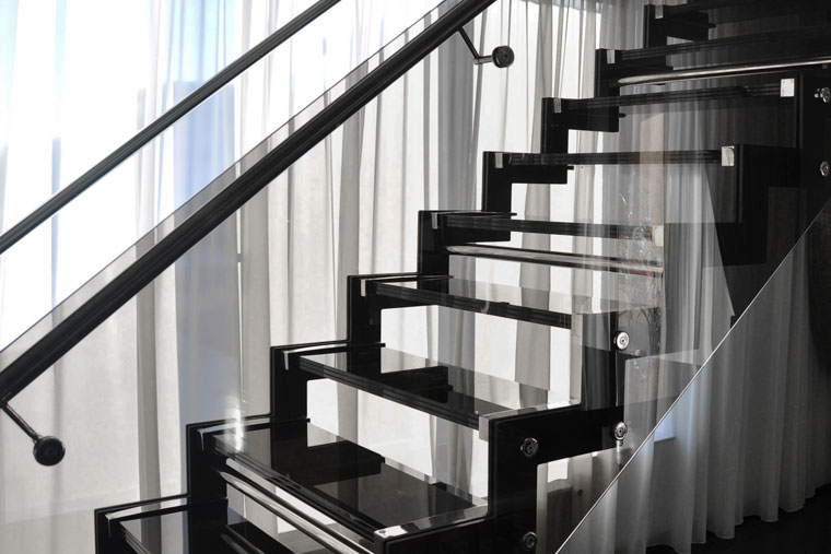 Scara domiciliu trepte sticla balustrada inox haute couture